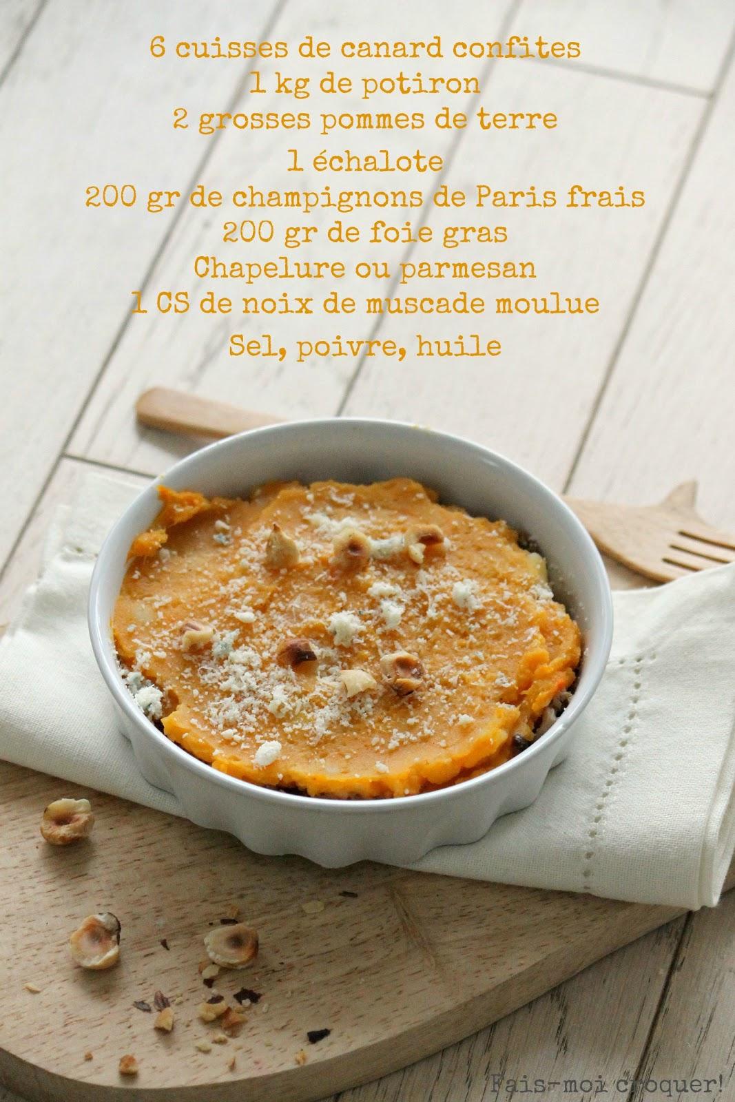 Fais moi croquer parmentier de potiron canard confit - Comment cuisiner des cuisses de canard ...