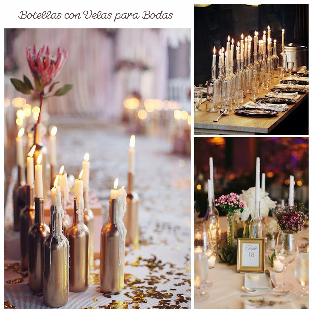 Botellas de vino para decorar bodas something blue bodas - Botellas con velas ...