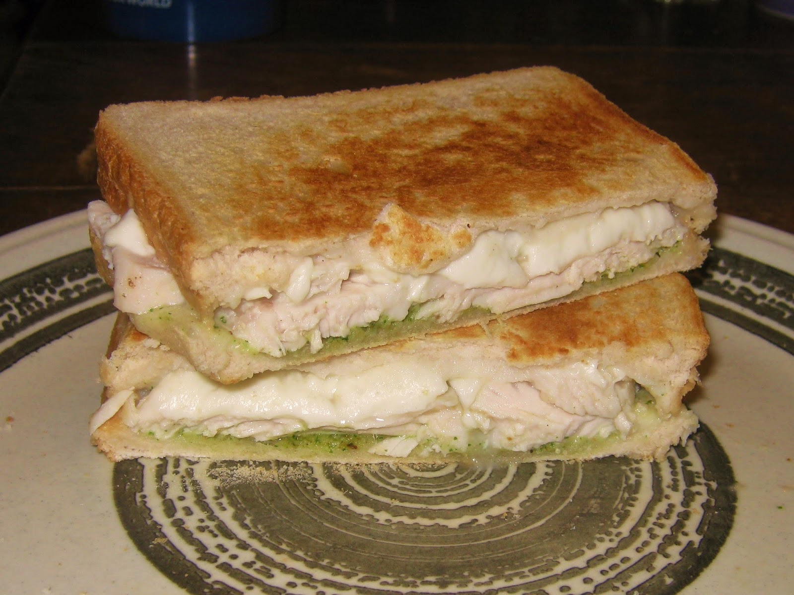 Chicken, pesto and mozzarella toastie
