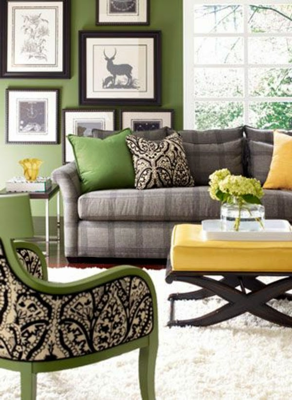 Classic Living Room Color Schemes, Green Wall Paint, Gray Furniture