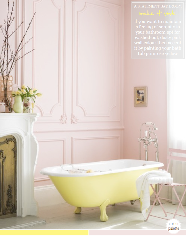 Colour palette yellow pink bathroom bright bazaar by for Purple and yellow bathroom ideas