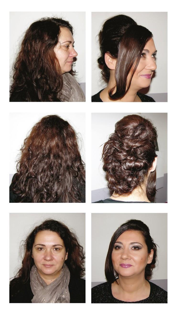 Sandrine, avant et après sa visite au Studio 54,  coiffure et maquillage réalisé par Eddy, coiffeur visagiste à Montpellier.