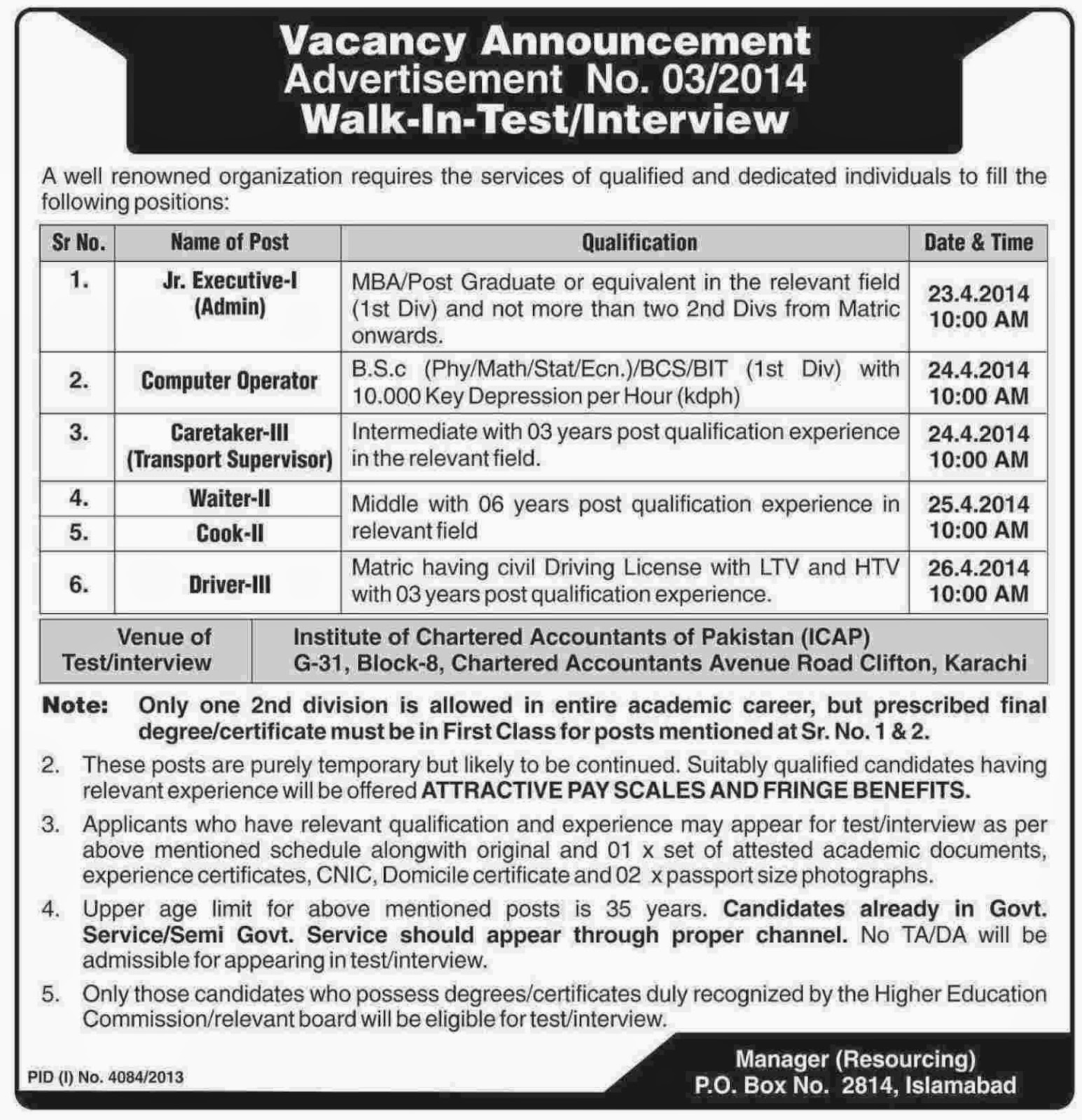 Executive, Caretaker and Computer Operator Jobs in Renowned Organization, Islamabad