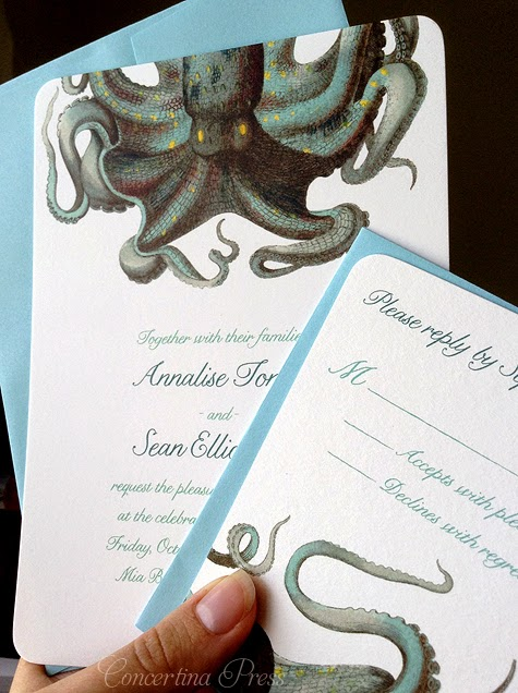 Octopus wedding invitations for a wedding in Texas by Concertina Press