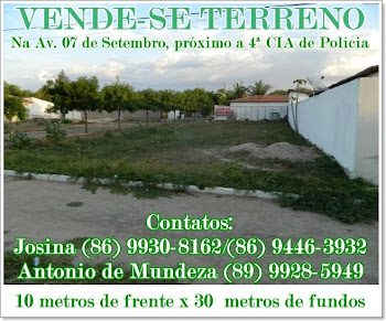 Vende-se Terreno na Av. 07 de Setembro