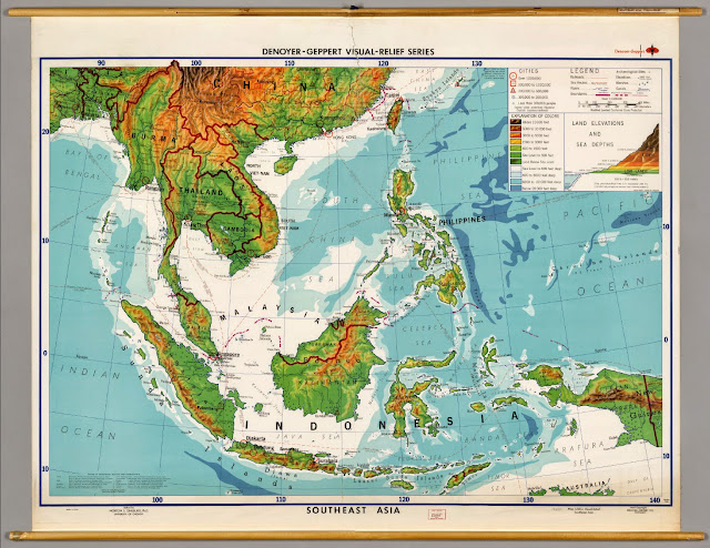 Elevation map of southeast asia