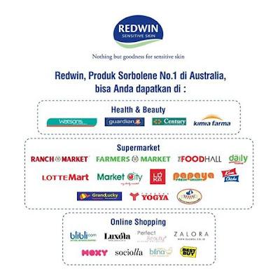 Redwin Sorbolene untuk kulit sehat dan indah tersedia di supermarket, apotek, dan online shop ternama.