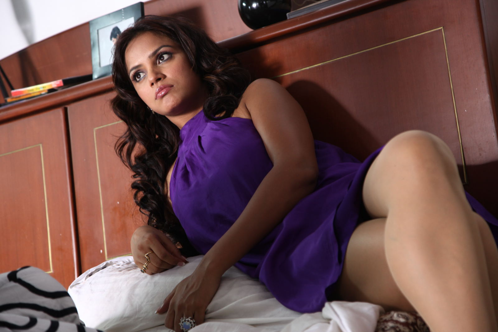 Neetu Chandra purple short dress sexy thighs - Neetu Chandra STRIKING HOT PICS