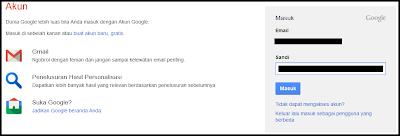login ke akun google untuk mendaftar google adsense