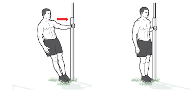 Single-arm row all fitness Grab a pole (lamppost, signpost, goalpost) with your left hand and put your feet together next to it. Lean back until your arm is extended and your body forms a straight line from head to ankles. This is the starting position. Now pull your chest to the pole, keeping your left elbow tucked close to your side. Pause, and return to the starting position. Do 5 rows with your left arm, switch sides, and do 5 with your right. Keep adding 1 row on each side until you can't do the same number of reps on both sides