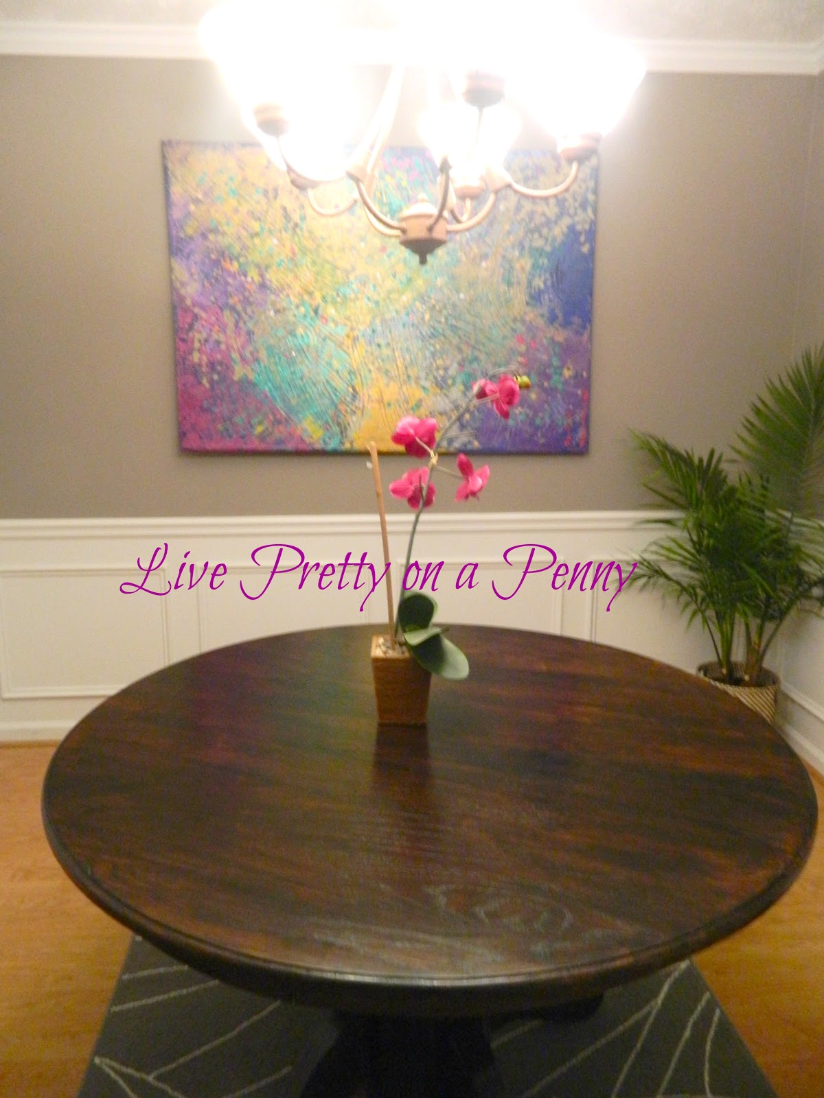 Live pretty on a penny refinishing an oak table a dining for Refinished dining room table