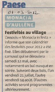 Programme festivités Monacia 2012