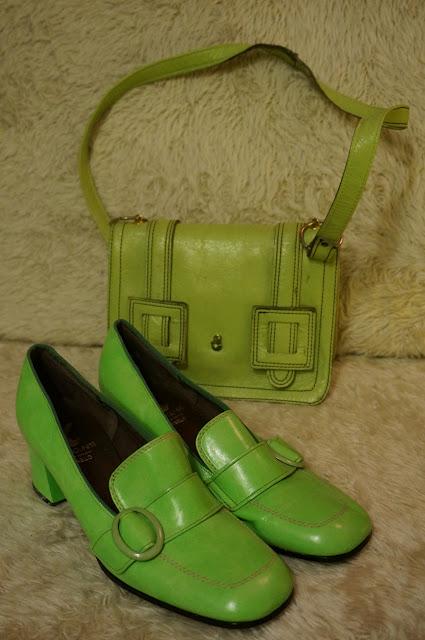 vintage geometric abstract print dress green blue loafers chunky heels 1960 1970 60s 70s coat canvas spring bag handbag