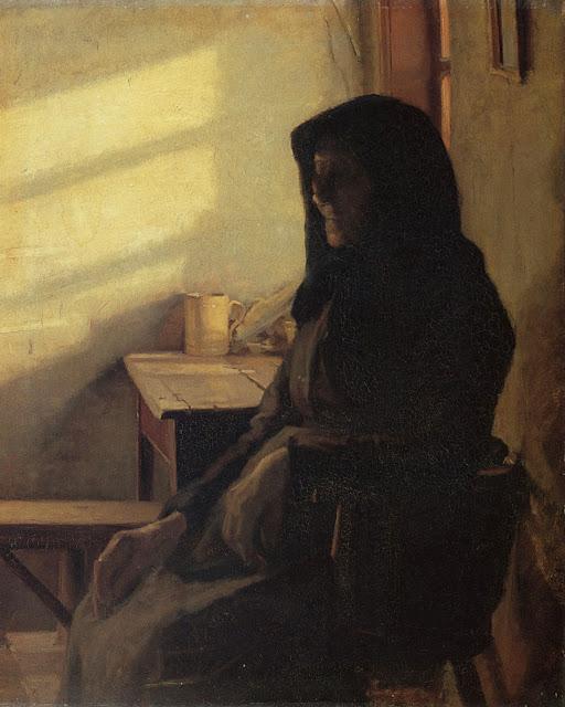 En blind kone i sin stue - Anna Ancher, 1883