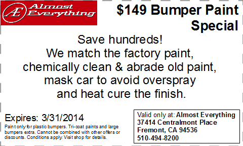 Discount Coupon Almost Everything $149 Bumper Paint Sale March 2014