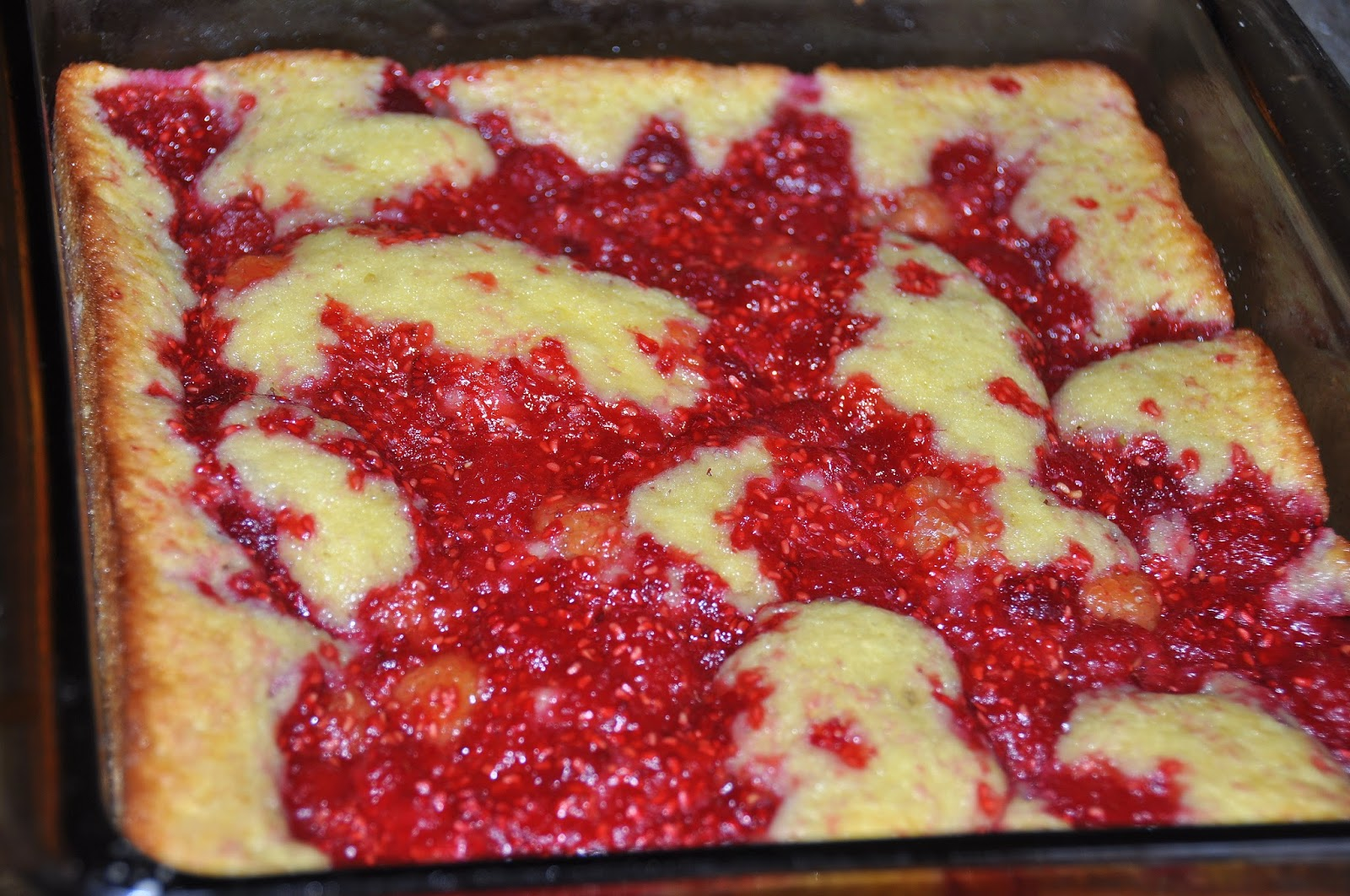 Raspberry Cobbler just out of the oven