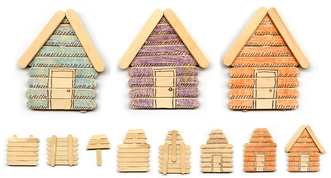Popsicle stick cabins art projects for kids for Log craft ideas