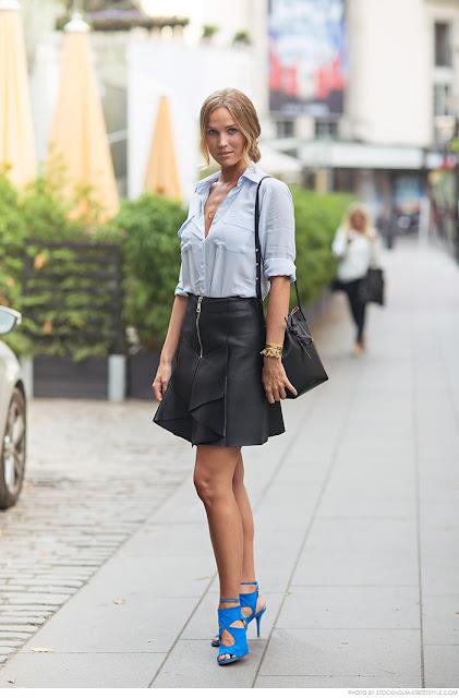 Para ir a lo oficina ¿qué me pongo? camisa blanca falda negra zapatos de color
