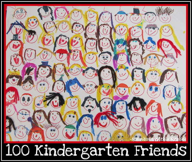 "photo of: 100 Kindergarten Friends ""Homework"" (via 100 Day Party Ideas at RainbowsWithinReach)"