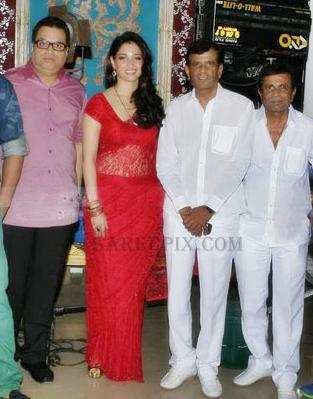 Tags: Tamanna in red saree, Tamanna at Its entertainment muhurat shoot ...