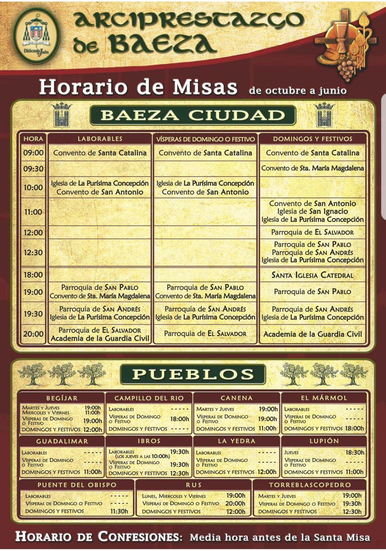 HORARIO DE MISAS EN EL ARCIPRESTAZGO DE BAEZA  (OCTUBRE - JUNIO)