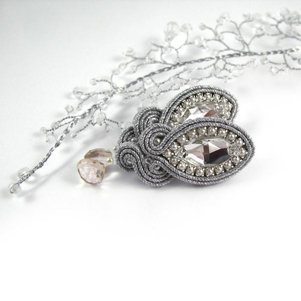 """Ślubne kolczyki sutasz srebrne z kryształami Swarovski perłami, """"Lady Teck"""""""