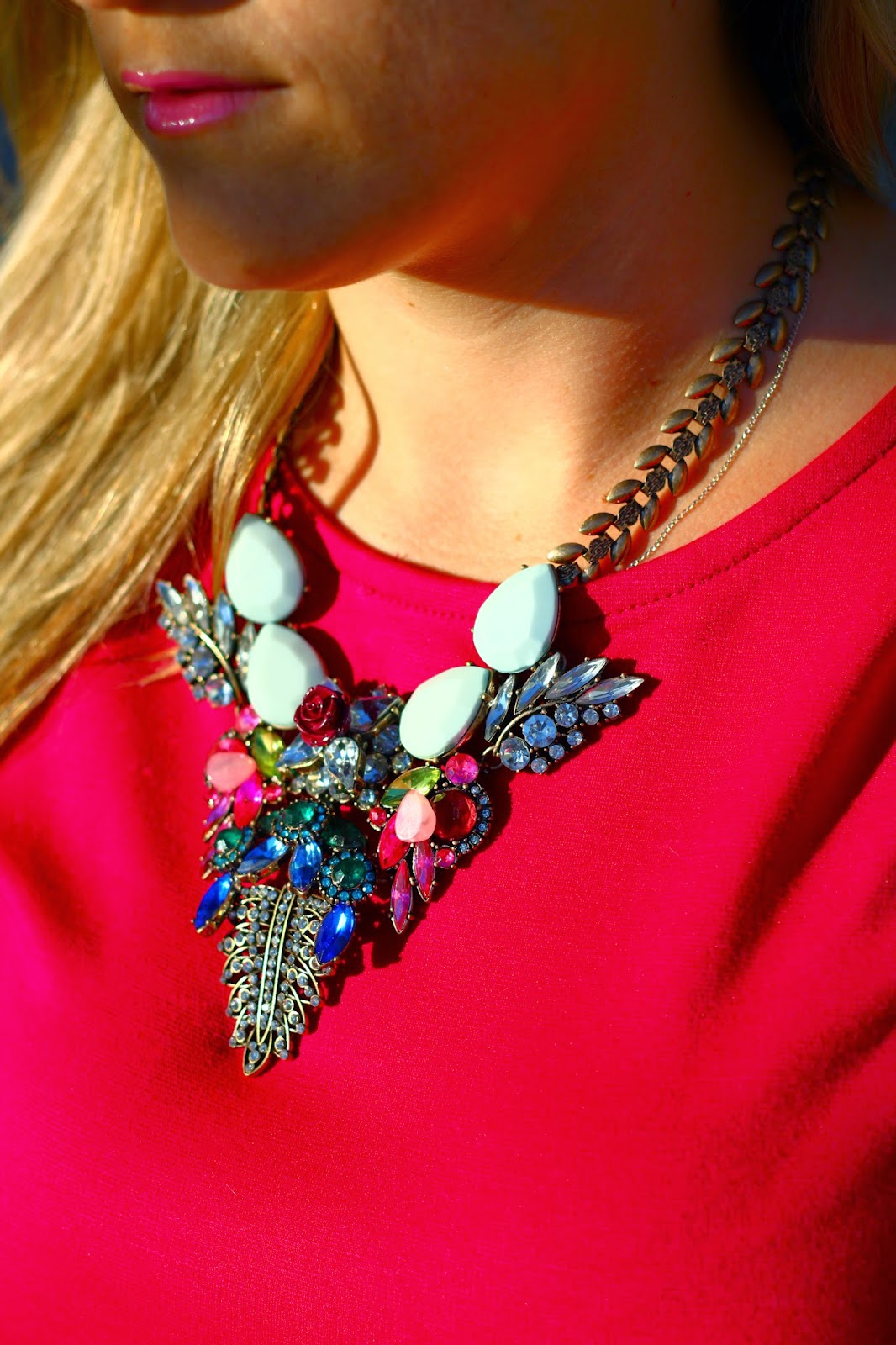 Flower Statement Necklace, Pretty in Pynk, Burgundy Peplum Top