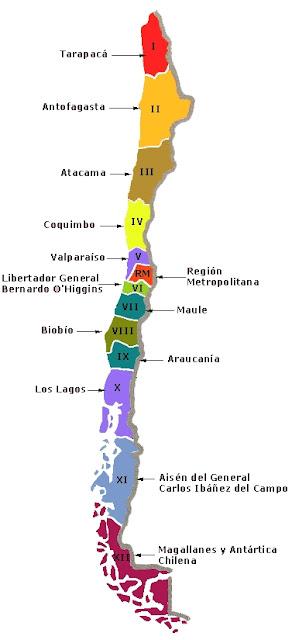 mapa de chile con sus regiones