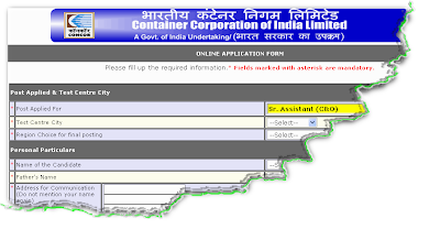 CONCOR Recruitment 2012 Online form