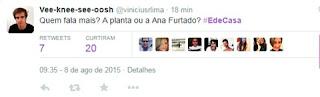 O que motivou a interação nas redes sociais, no entanto, foram piadas sobre a atração. É de Casa recebeu um série de críticas, foi gongado e comparado ao programa de Sonia Abrão.