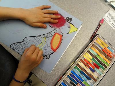 spring art project, bird art project, kids spring art project, bird drawing project