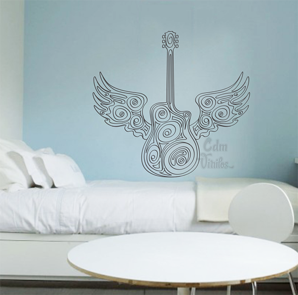 Vinilo decorativo pared guitarra con alas cdm vinilos for Vinilo decorativo musical pared