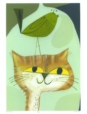 Cat Bird. 8.5 x 11 print by Matte Stephens.