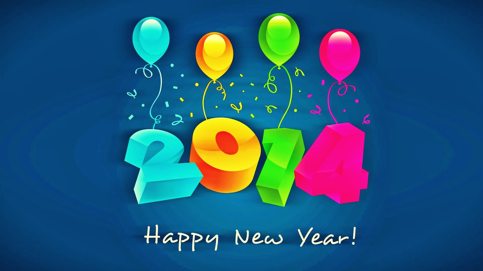 Happy New Year 2014 Animated 3D Wallpapers Colorful Greetings