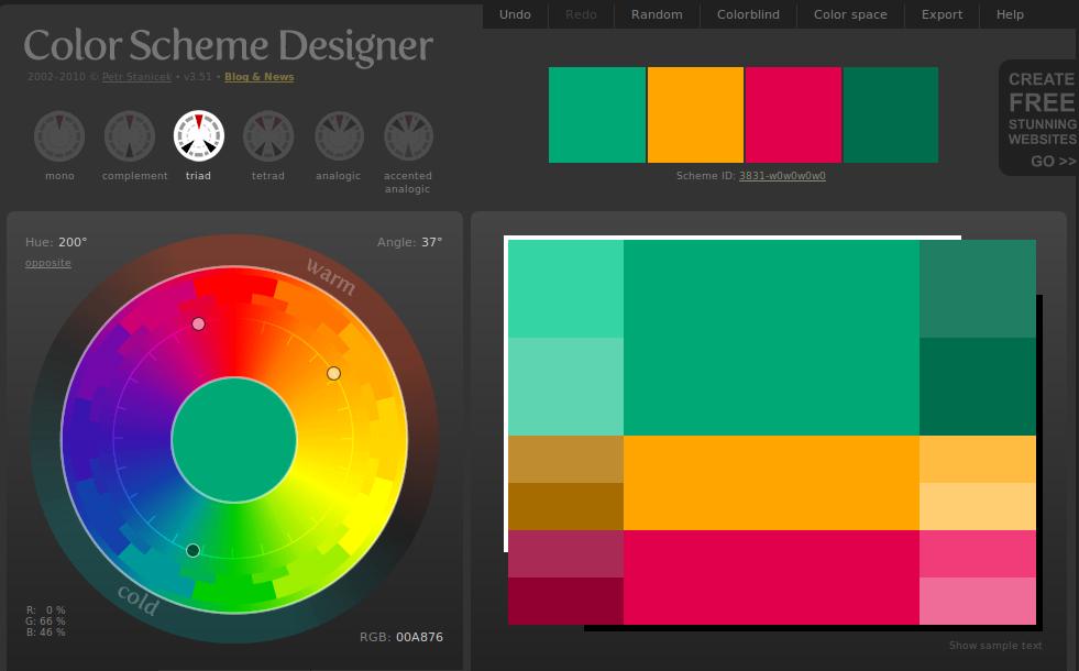Color Scheme Designer   Otimizar Cores Em Harmonia   Web2.0
