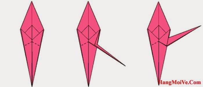 Bước 17: Từ hình một, ta bẻ (gấp) cạnh dưới cùng sang phía bên phải (hình 2) để hình thành chân của con cua như hình 3.