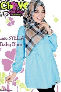 Clover Clothing Blus Syelia - Baby Blue (Toko Jilbab dan Busana Muslimah Terbaru)