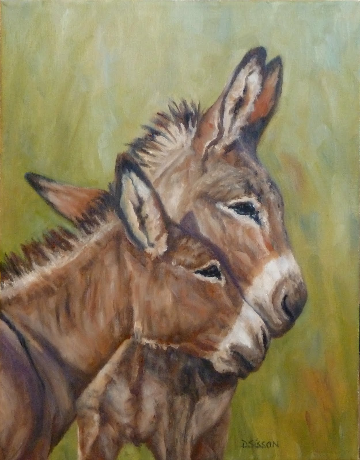 Daily painting projects nose to muzzleoil painting donkey for Animal oil paintings