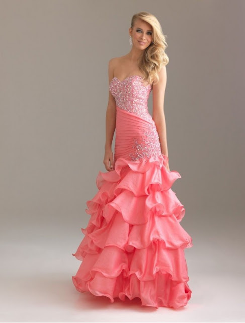 Organza Sweetheart Strapless Neckline Mermaid Prom Dress with Ruffle Skirt