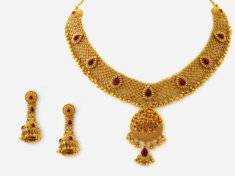 Jewellery Designs Designer Gold Necklace Set with studded rubies
