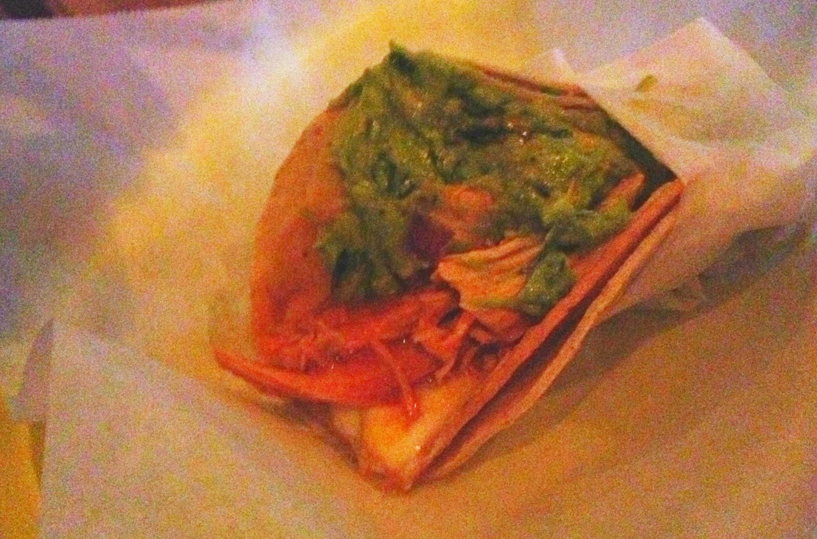 Becca's Chicken Taco - with guac, pinto beans, Monterey jack cheese