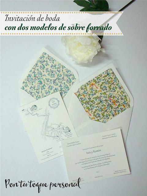 Sobre de boda forrado con papel florentino de dos modelos