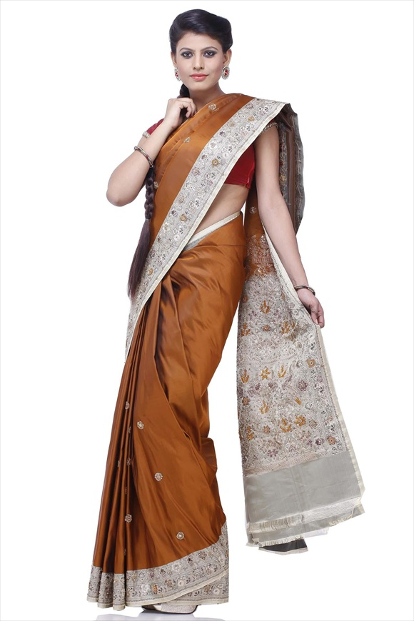 Golden Brown Satin Banarasi Saree