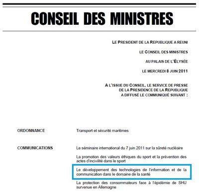 développement des technologies de l'information et de la communication dans le domaine de la santé Conseil des ministres du 8 juin 2011
