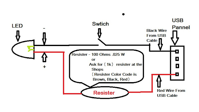 it solution  how to light led via usb power supply