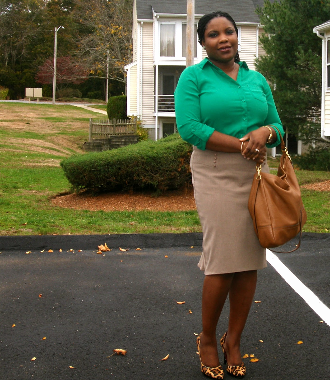 Emerald shirt, Beige Pencil Skirt