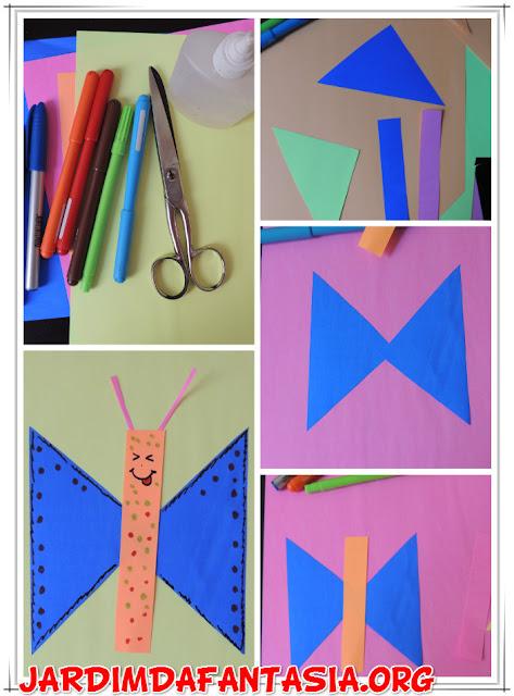 Fazendo Arte com Papel Borboletas de formas geométricas