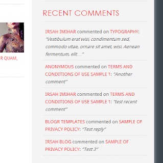 Install recent comment / review Blogger store / shop template