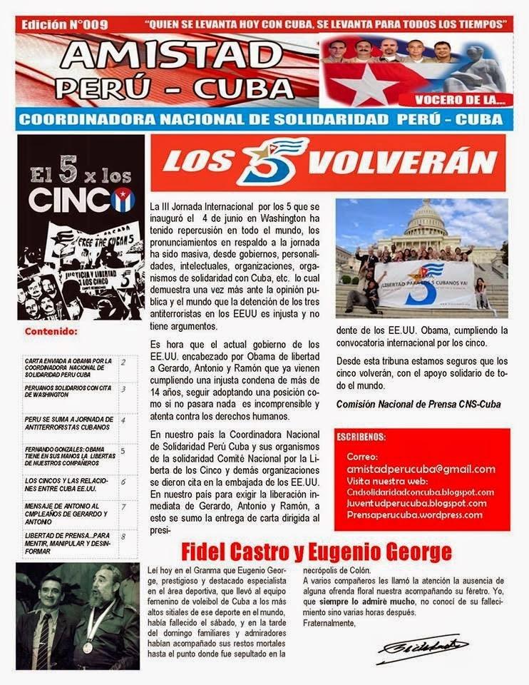 """BOLETÍN Nª009 """"AMISTAD PERÚ CUBA"""""""