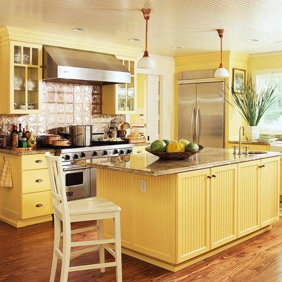Home decor walls traditional kitchen design ideas 2011 with yellow color Kitchen design yellow and white